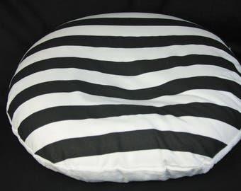 Boppy Lounger Cover- Black & White Stripe With Minky Underside