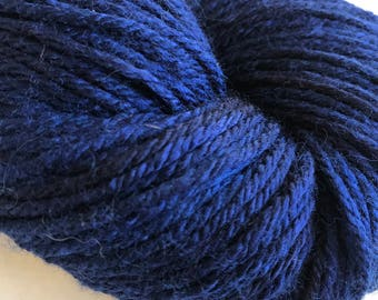 "Wool/Silk Worsted Weight Hand-dyed Yarn ""Midnight"""