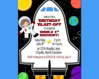 Astronaut Space  Rocket Birthday Party Invitation