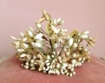 French antique wedding bridal flower crown. Wax orange blossoms tiara. Napoleon III. Victorian wreath. 1800s