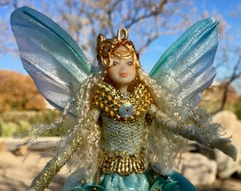 "Fae Folk® Fairies - SAPHIRE - Jewel Fairy. Bendable, posable 5"" soft doll can sit, stand, or hang."
