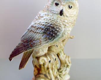 Large,Vintage porcelain bird figurine,owl,handmade,stamped