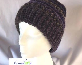 Multi Colored Messy Bun Hat / Handmade Crochet / Women's gift idea / Warm / Soft / Purple / Brown / Women's Size