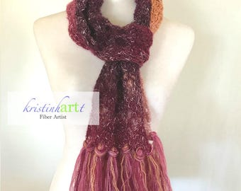 Fringed Coral Ombre Scarf / Handmade Crochet / Women's Gift Idea / Lacy / Coral / Burgundy / Purple / Pink / Peach / One Size
