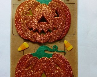 Glitter Pumpkins Scrapbook Stickers by Jolee's Boutique, Parcel Dimensional Stickers, Jack O Lanterns, Halloween, Candy Corn