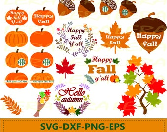 60 % OFF, Fall SVG, Autumn SVG Files, Pumpkin Clipart, Fall Leaves Silhouette svg, dxf, ai, eps, png, Happy Fall y'all