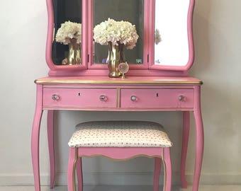 vintage bedroom vanity. Vintage Vanity  pink gold 1918 with stool vanity Etsy
