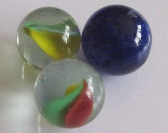 Rare Old Vintage 3 pcs Small colored glass beads for play