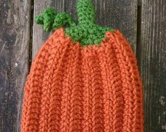 Newborn to three months pumpkin hat, pumpkin shaped beanie, baby pumpkin, pumpkin hat, 0-3 months, Halloween,  fall hat, winter hat