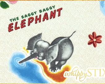 The Saggy Baggy Elephant Fabric By the Yard, Little Golden Books Fabric Storybook, BTY Random House Quilting Treasures OOP Cotton Fabric