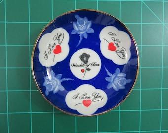 Cedar Fair Parks Kansas City Worlds of Fun Vintage Souvenir Ceramic Plate Dish I Love You Roses
