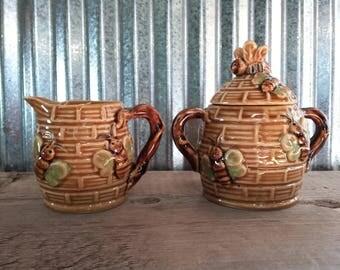 Vintage Honey Bee Cream and Sugar Set-Vintage Bee Tea Set-Vintage Ceramic Bee Sugar-Vintage Ceramic Bee Cream-Vintage Honey Bee