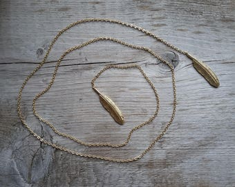 Boho Gold Feather Lariat-Vintage Boho Feather Lariat-Vintage Gold Feather-Free Shipping