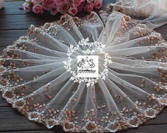 High fashion - 22cm embroidered lace flower Brown Ref. 1719