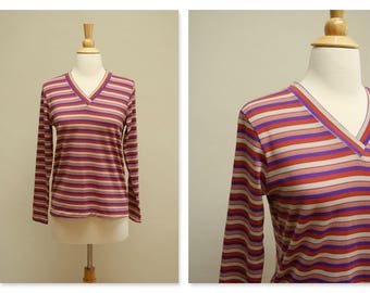 Vintage 1970s V-Neck Shirt ⎮ 70s Long Sleeve Top ⎮ Vintage Striped Grunge Shirt
