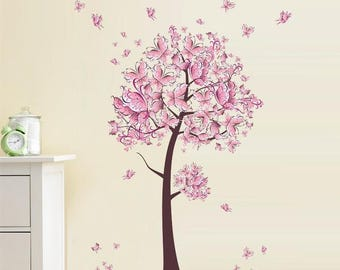 Butterfly Wall Decal, Cherry Blossom Wall Decal, Tree Wall Decal, Wall Decals Nursery, Wall Decal for Girls, Vinyl Wall Decals, Big Decal
