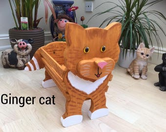 GINGER CAT,wooden,garden,planter,ornament,decoration,name tag,custom made,