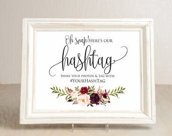 Hashtag Wedding Sign, Wedding Hashtag Sign, Your Hashtag Sign, Hashtag Template, Editable Wedding Sign, #A047, INSTANT DOWNLOAD Editable PDF