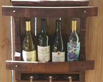 Mini Bar - Wall Mount - Reclaimed Pallet Wood & Solid Oak Wine Barrel Staves