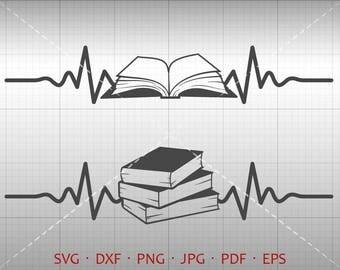 Heartbeat Book SVG, EKG Book Clipart, Student svg DXF Silhouette Cricut Cut File Vector Commercial Use