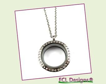 25mm CZ Silver Medium Round Floating Charm Locket Necklace