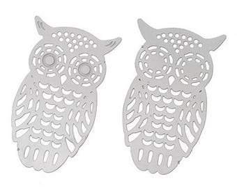 2 connectors prints OWL silver 26 x 16 mm