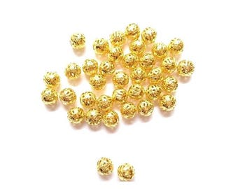 100 Pearl filigree hollow alloy Gold 8mm