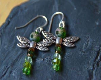 Beaded Dragon Fly Earrings on Sterling Silver Fish Hooks