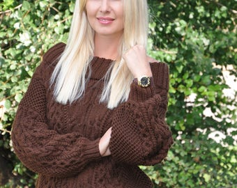 Cable Knit Sweater, Brown Sweater, Handmade Sweater, Knitted Jumper, Pullover Sweater, Cable Knit Jumper, Off Shoulder Sweater,Cable Sweater