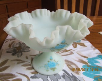 FENTON BLUE SATIN Signed Footed Ruffled Footed Compote