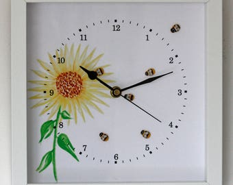 NEW 25cm Bees Wall Clock - Flowers Modern Country Style Watercolour Painting