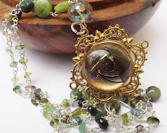 Vintage pendant, animal pendant, horse pendant, animal lover, mixed gemstone necklace, green gemstone, sterling silver, 1930s vintage