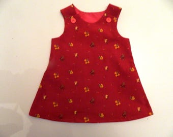Deep Red Needlecord Winter Christmas Flower Dress Fully Lined