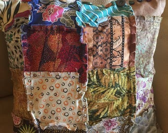 "Patchwork Multi-print Pillow . 14"" x 14"" Frayed Seams"