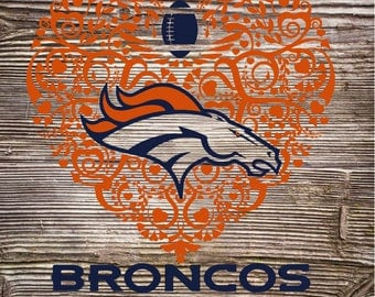Bronco Football Heart svg dxf png