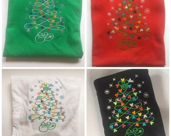 Christmas Tree lights Mickey embroidered Disney shirt Mickey and Minnie themed Christmas Tree Shirt Mickey Christmas Disney Christmas shirts