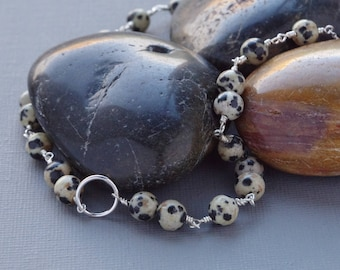 Spotted Black Cream Dalmatian Jasper 925 Sterling Silver Karma Circle Necklace Hand Forged Bead Chain Natural Untreated Gemstone Talisman