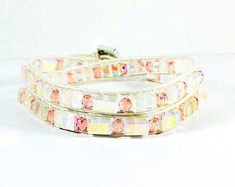 Over the Rainbow~Handmade Wrap Bracelet~Double Wrap Bracelet~Czech Glass~Crystal Bracelet~Wrap Bracelet Leather~Iridescent Beaded Bracelet