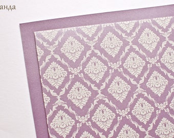Damask Pattern Paper for Handmade Wedding Invitation Purple/ Beige/Mint/Turquoise