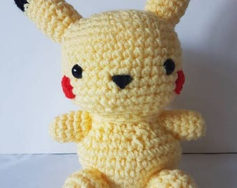 Large Pikachu amigurumi/crochet | Pokemon inspired | Gifts for him | Gifts for her | Plush | Unique | Handmade | Video game [Made to order]