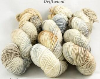 Driftwood. Fingering weight yarn. Hand dyed yarn. Sock yarn.