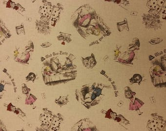 Alice in Wonderland Mad Tea Party Fabric Cotton/Linen Material By Metre Patchwork Cushions Hatter White Rabbit PERFECT FOR BAGS Bunting