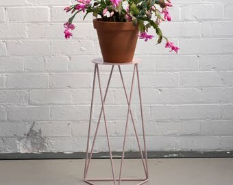 High Tri Plant Stand with Plate in Blush Pink