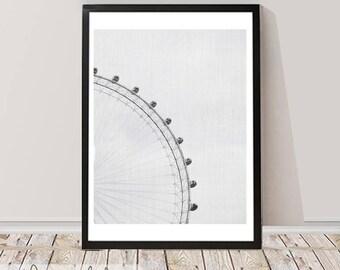 London Print, Black and White Photography, Millennium Wheel Printable, Printable Large Wall Art Poster,Wheel London Art City Scape