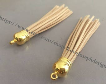 20pieces 90mm light tan suede leather gold plastic ear tassel charms (#0171)