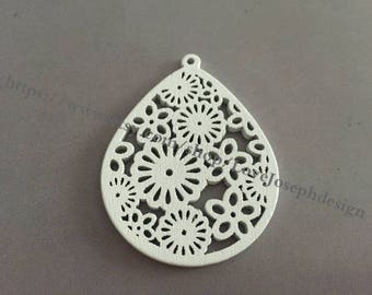 4PCS Colorfull hollow wood White 51x39mm Teardrop Earring Pendant Filigree Flower Wooden Charms (#0326)