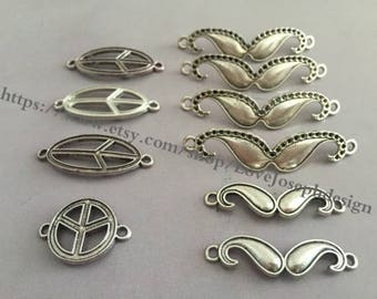 10 Pieces /Lot Antique Silver plated different peace and beard connector charms (#0376)