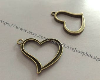 wholesale 50 Pieces /Lot Antique Bronze Plated 27mmx35mm heart charms (#0933)