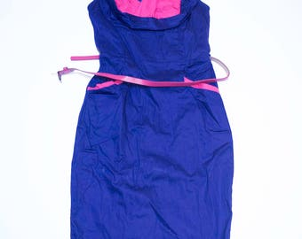 Electric blue shift dress with Fuchsia details