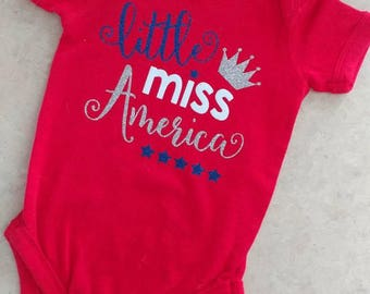 Little Miss America/ Fourth of July Shirt/ Miss America Onesie/ Independence Day Shirt/ Girl Fourth of July Shirt